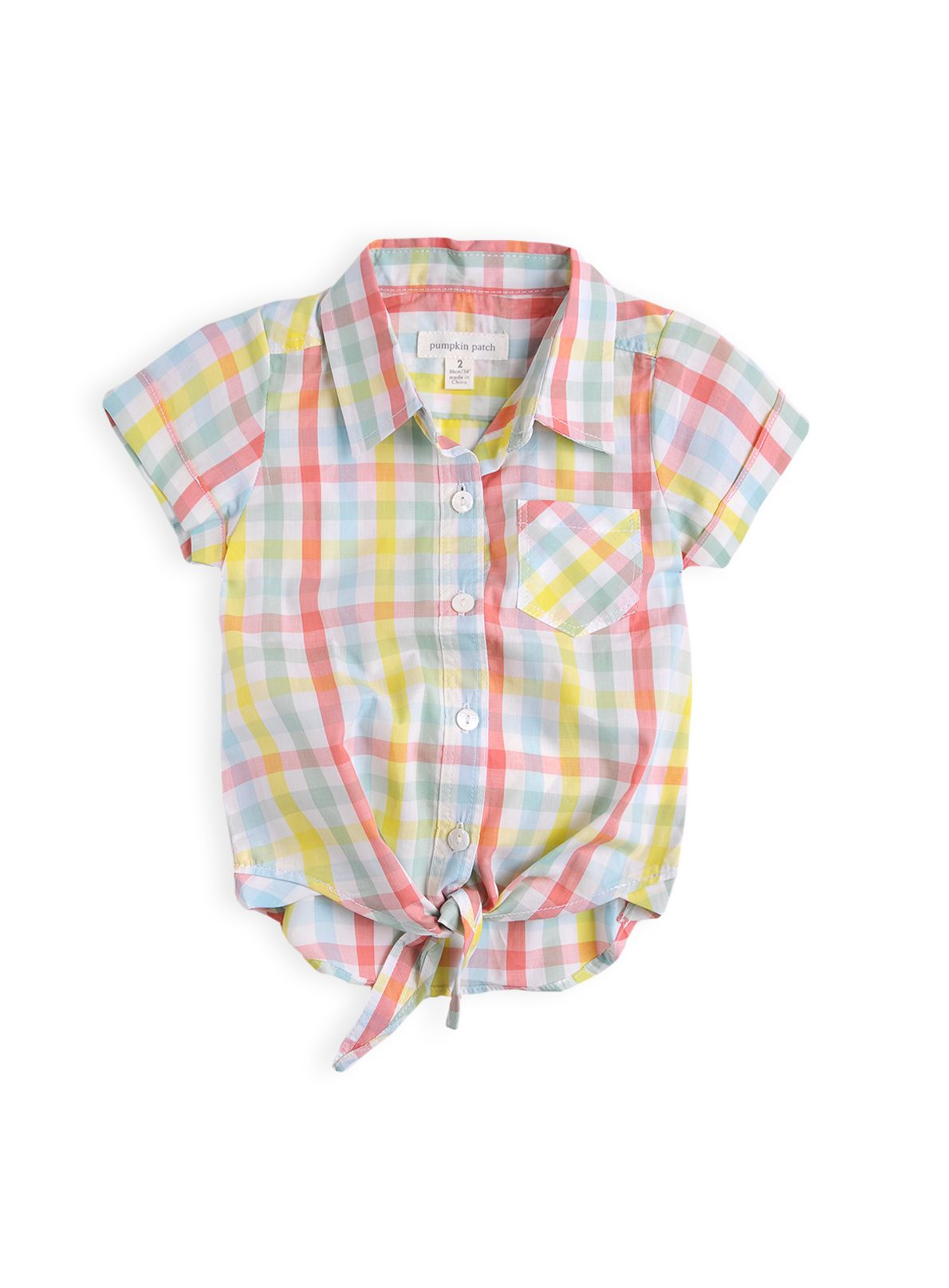 Girls multi check tie front top