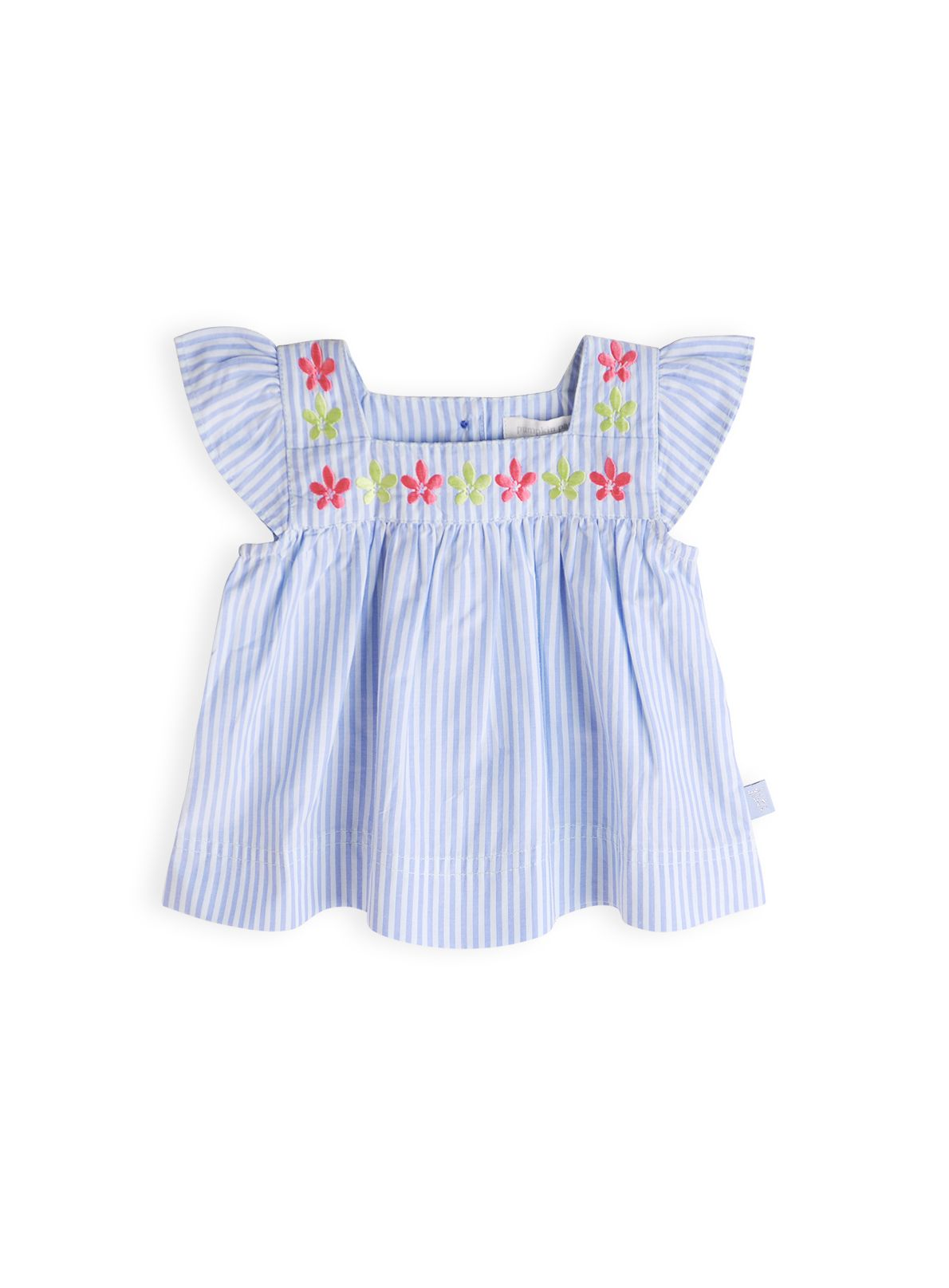 Girls frangipani embroidered top