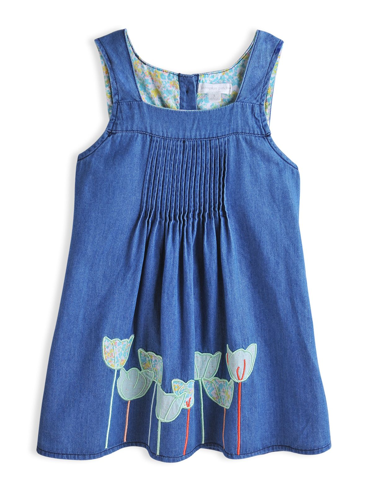 Girls denim pintuck dress