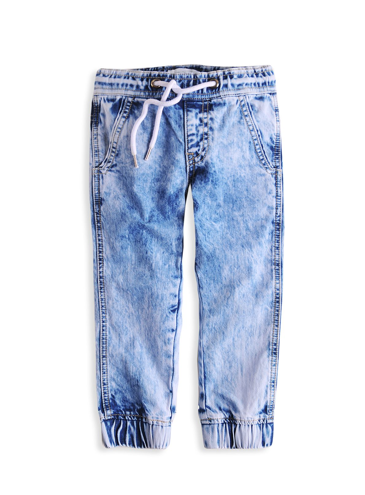 Boys elastic hem blue denim jeans