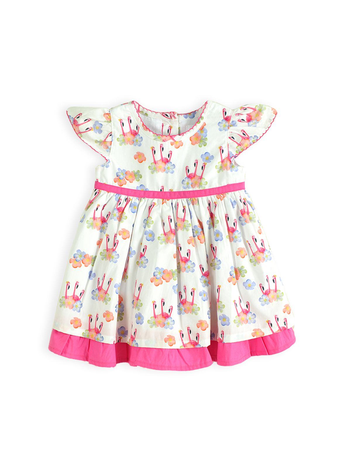 Girls flamingo frangapani dress
