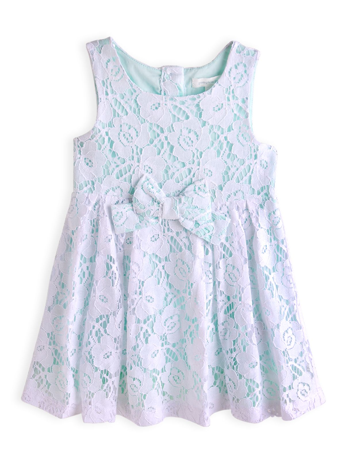 Girls lace rose trim dress