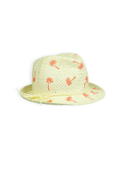 Girls palm beach printed fedora hat