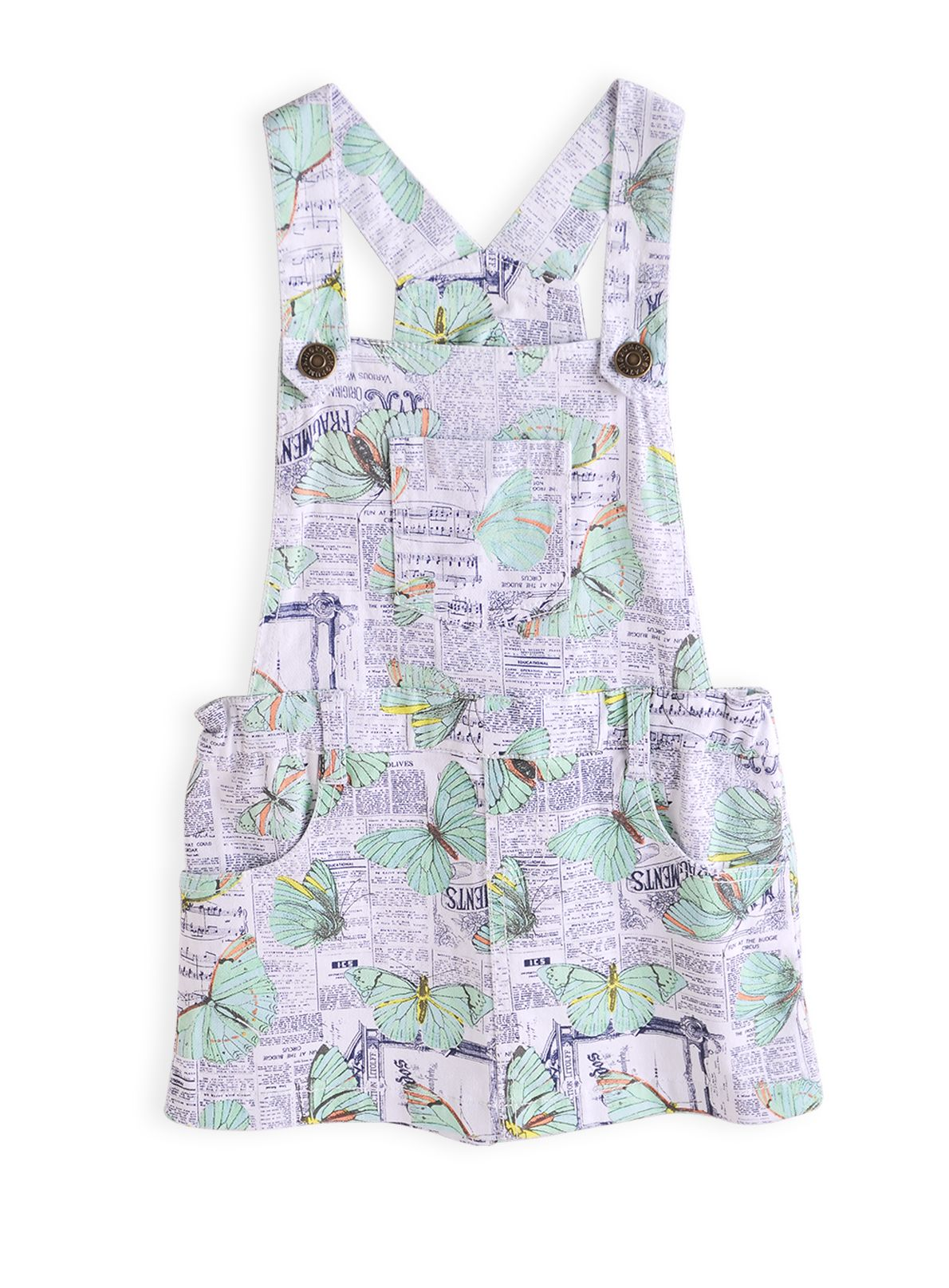 Girls newsprint apron dress