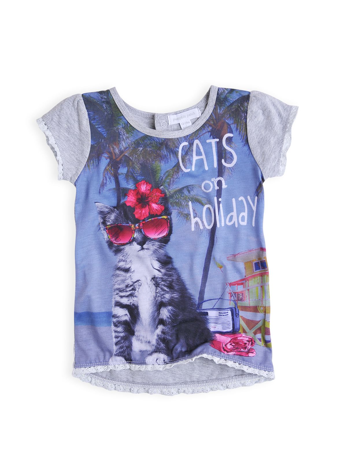 Girls cat on holiday top