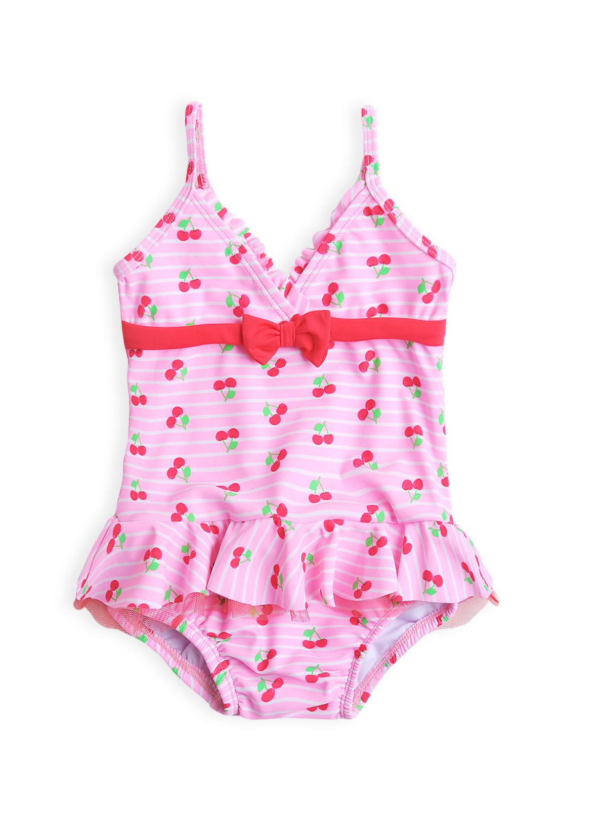 Baby girls cherry frill swimming costume