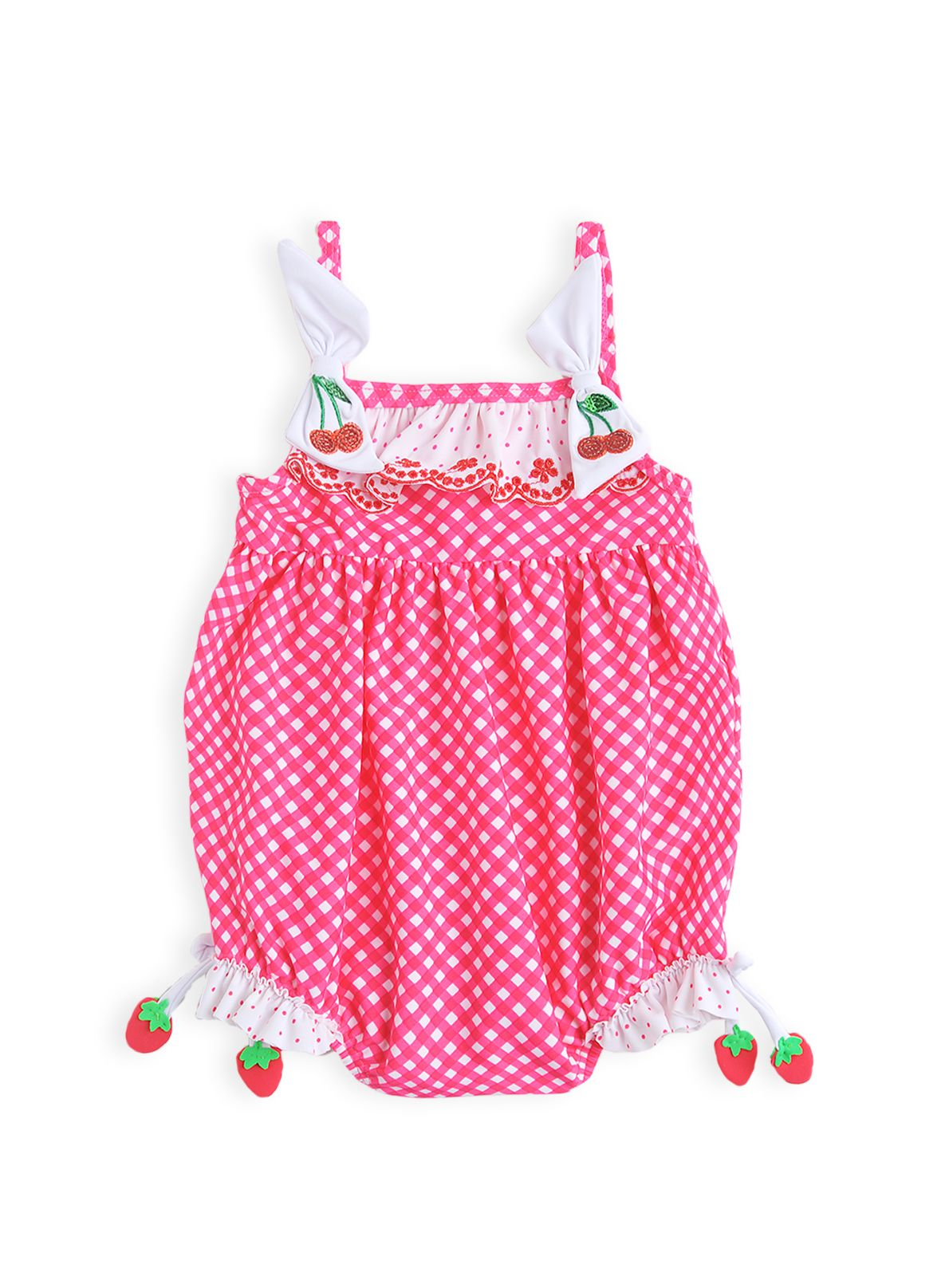 Baby girls gathered gingham swimming costume