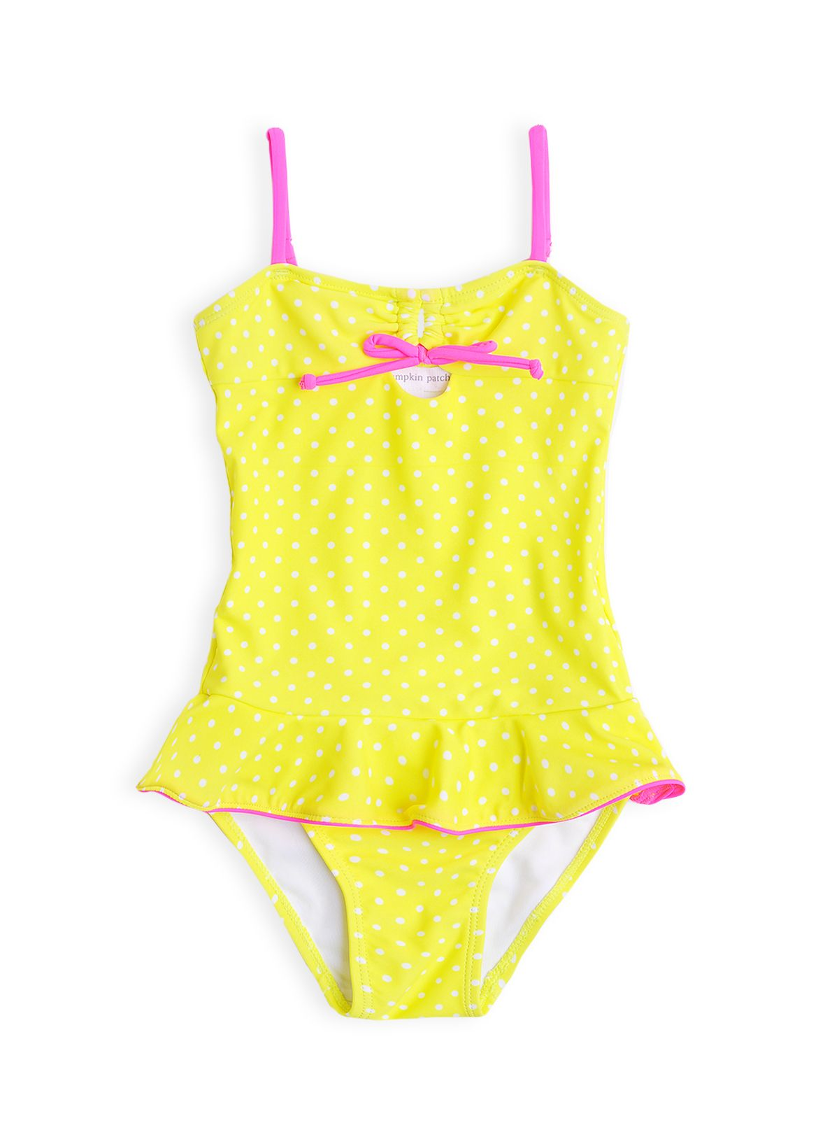 Girls lemon spot frill swimming costume