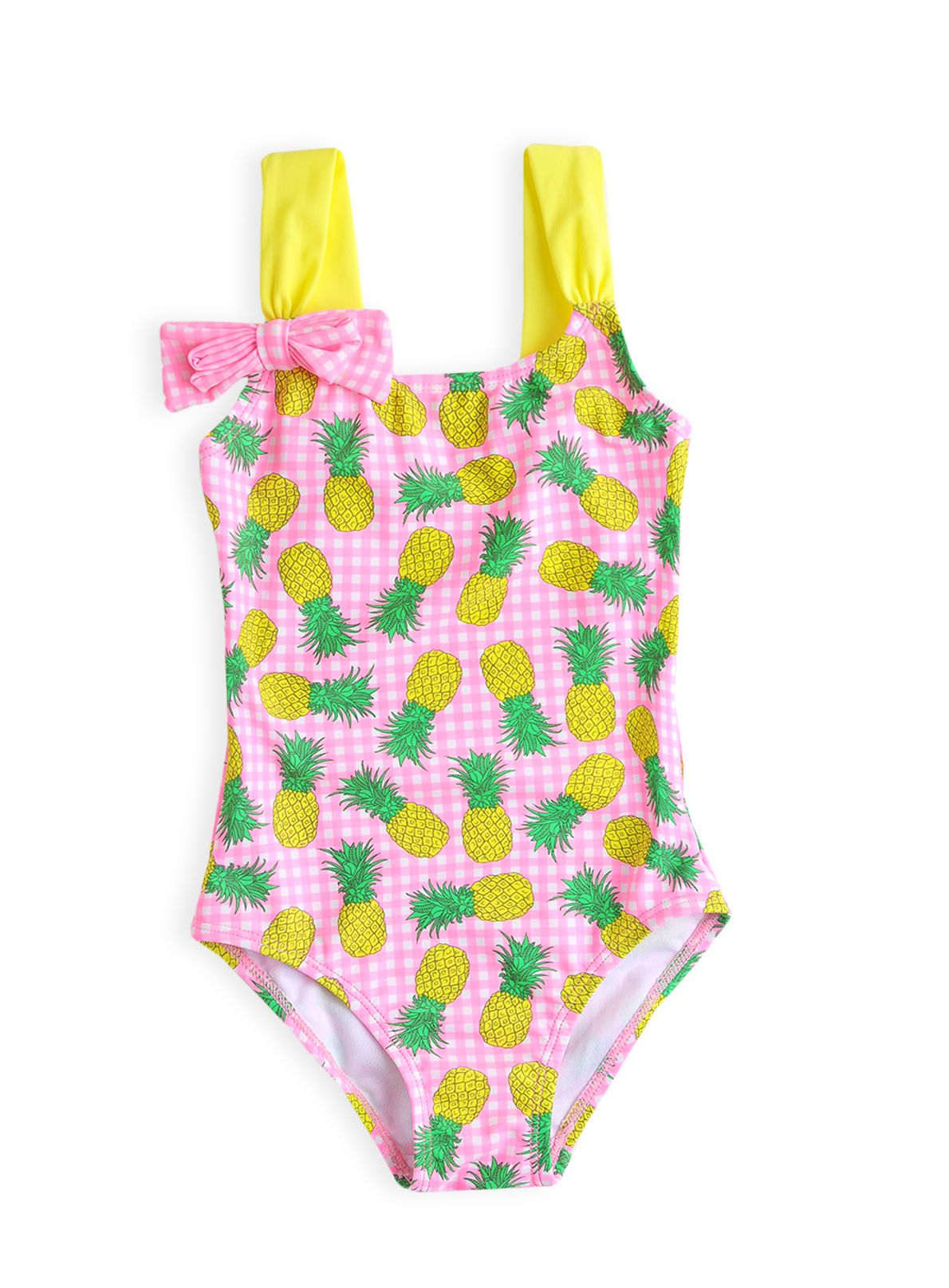 Girls gingham pineapple bow swimming costume