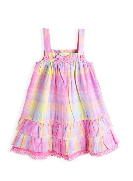 Girls multi check petticoat dress