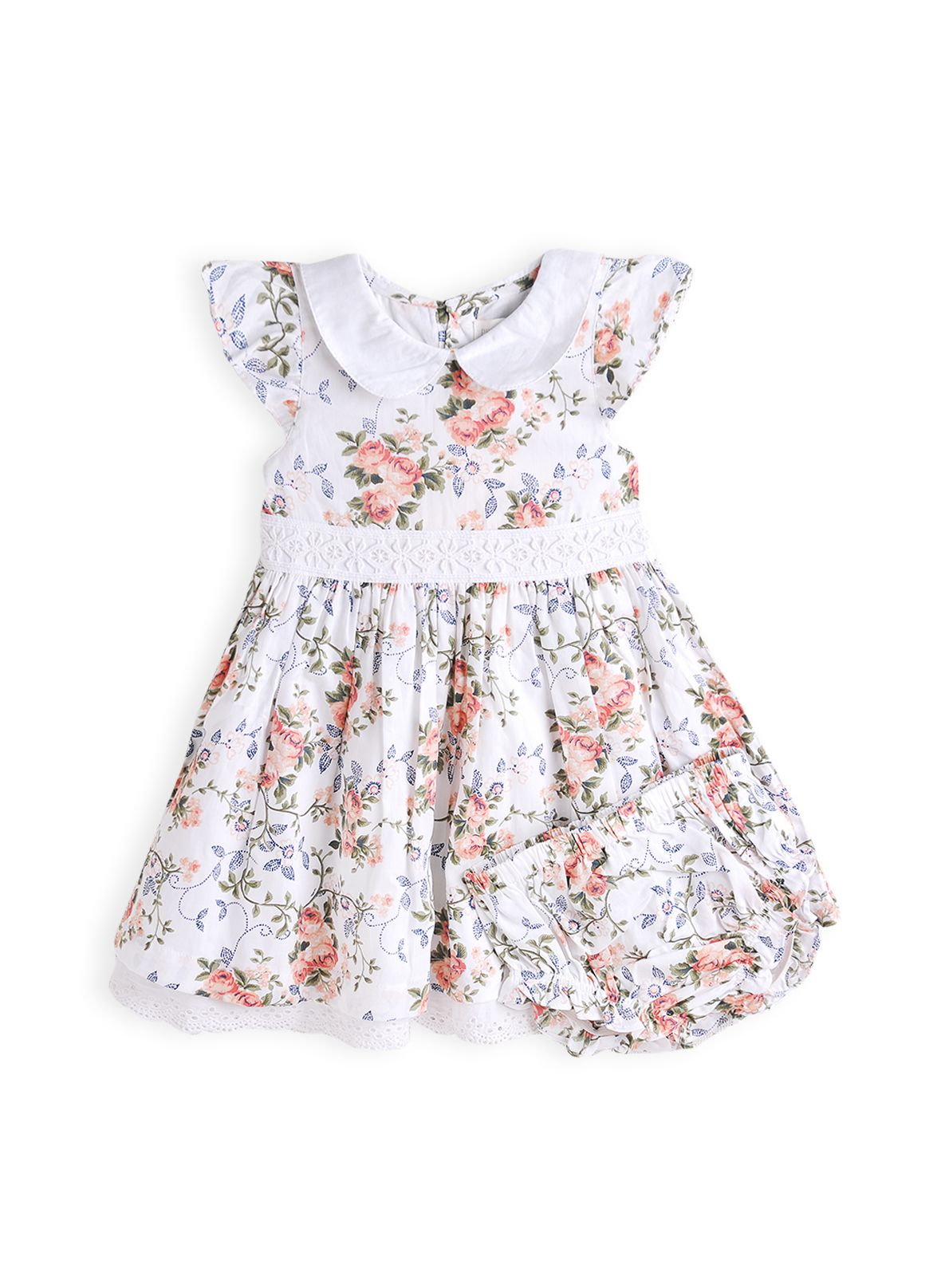 Girls rose print dress with knickers