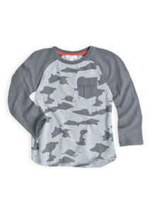 Boys raglan camo long sleeve tee