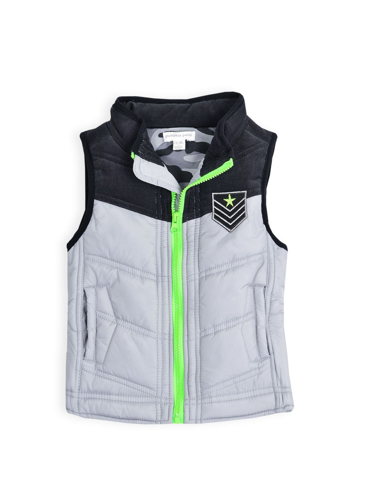 Boys puffer vest with yoke