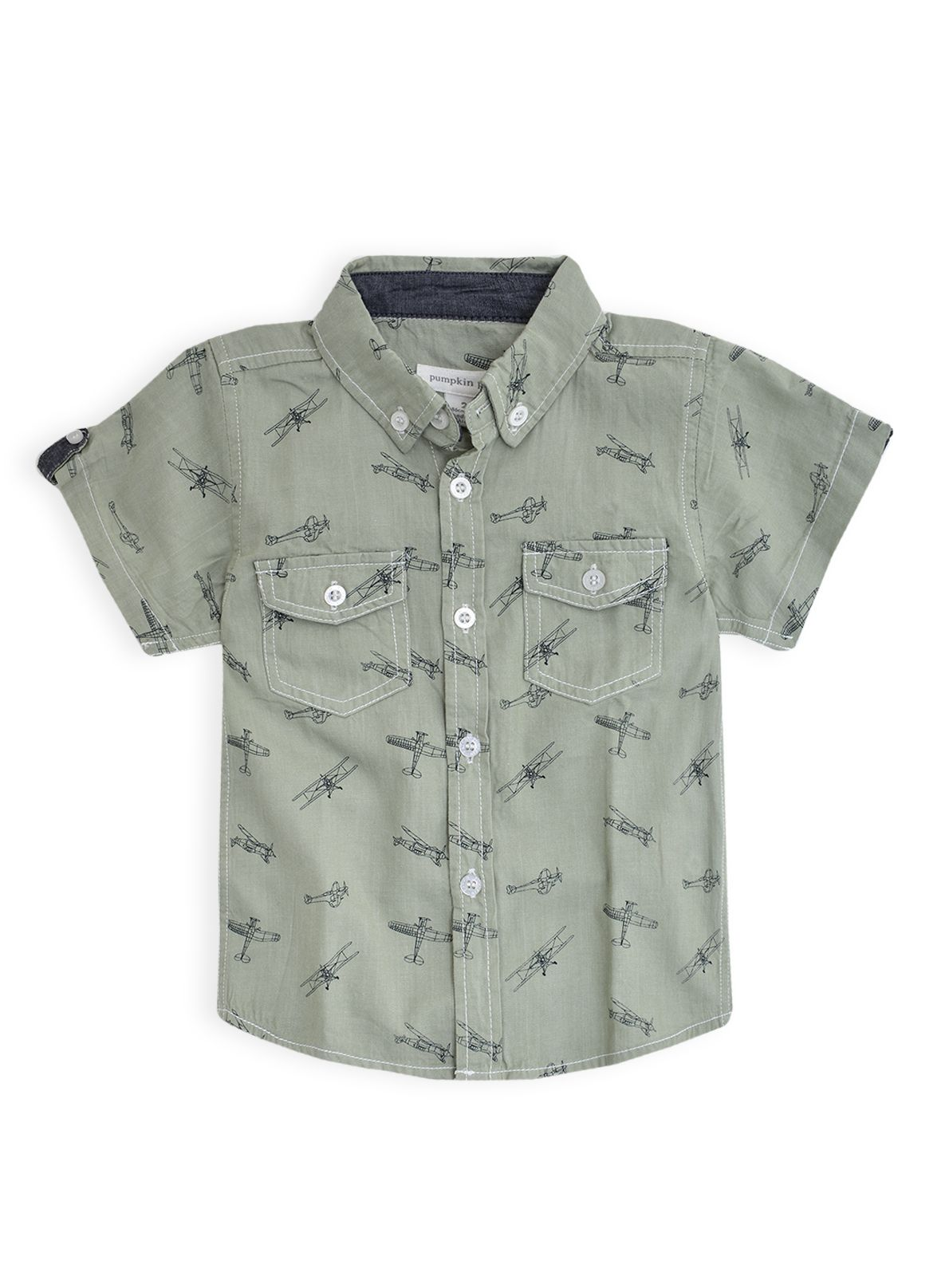 Boys aeroplane printed short sleeve shirt