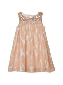 Girls w/s glitter and gold chiffon dress
