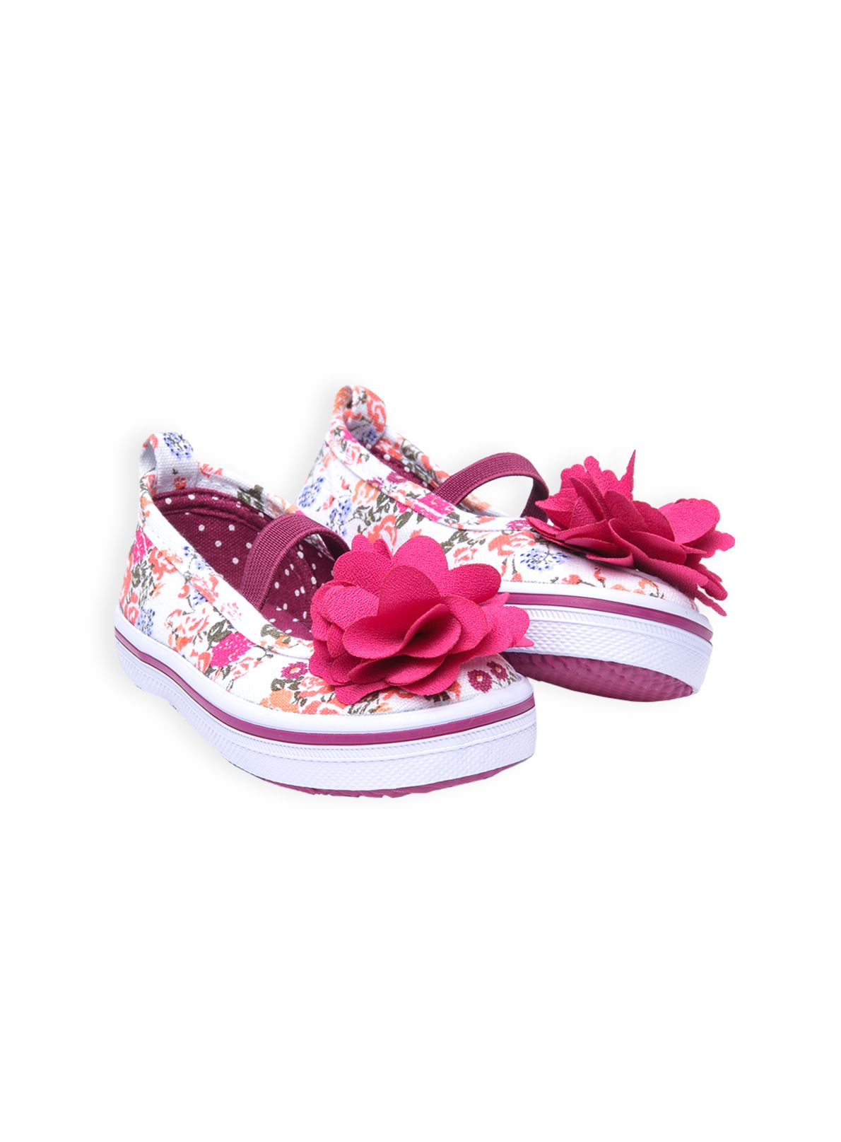 Girls floral bloom canvas ballerina