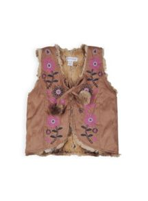 Girls embroidered faux fur vest