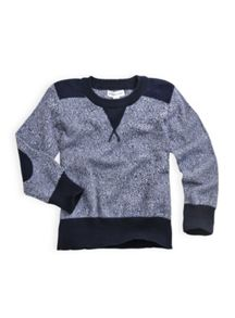 Boys marle knit jumper with quilt trims