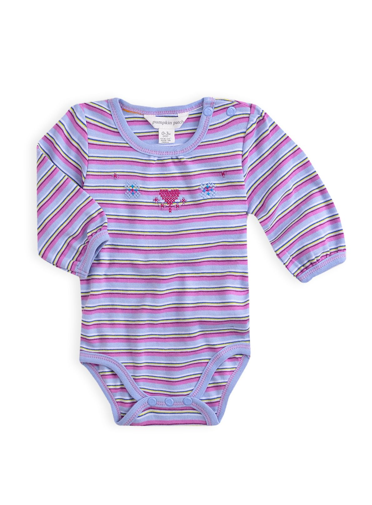 Girls multi stripe long sleeve bodysuit