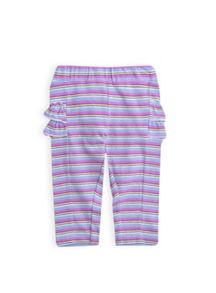 Girls multi stripe ruffle leggings