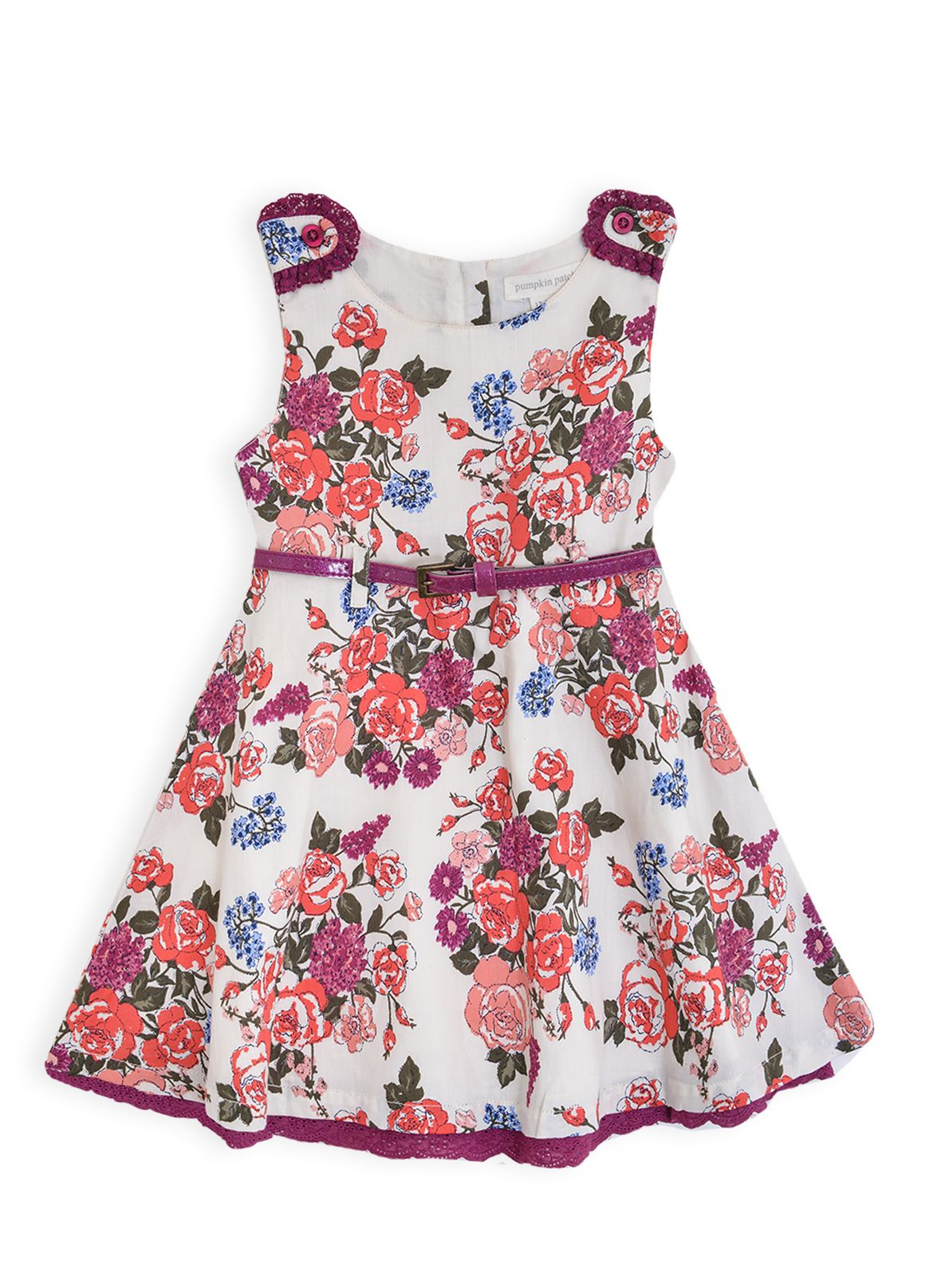 Girls belted floral dress