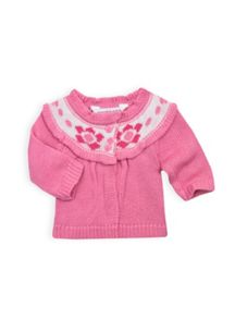Baby girls fairisle yoke cardi