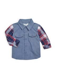 Baby boys check sleeve shirt