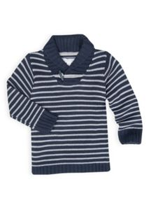Boys stripe knit shawl collar sweat