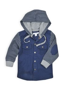 Boys striped long sleeve hooded shirt