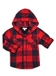 Boys tonal check hooded shirt