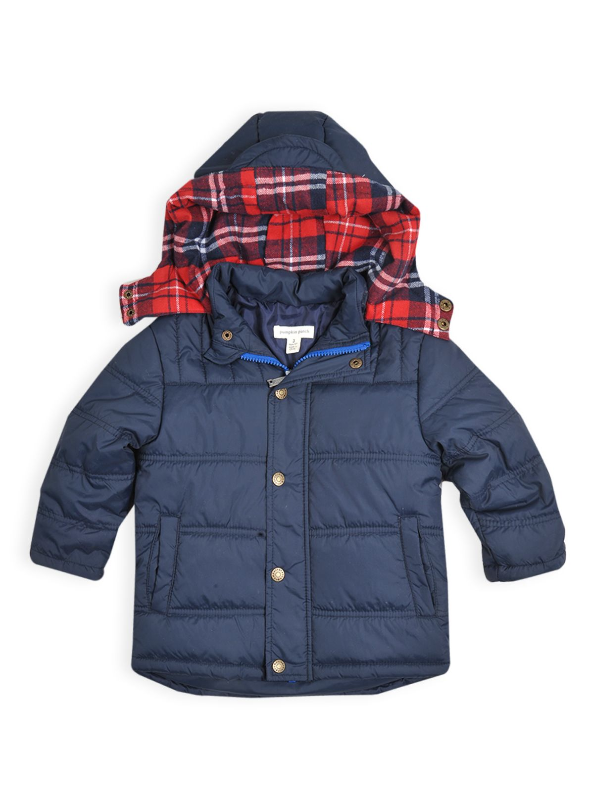 Boys hooded jacket with check lining