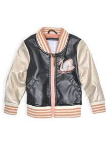 Girls swan appliqued jacket