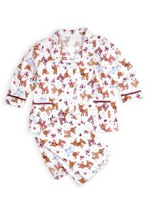 Girls fawn and flowers flannel pj set