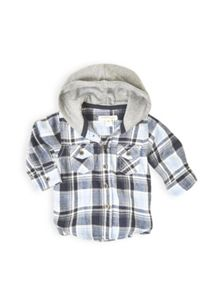 Boys button through hooded shirt