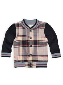 Boys check padded bomber jacket