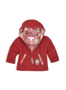 Girls hooded check lined knit jacket