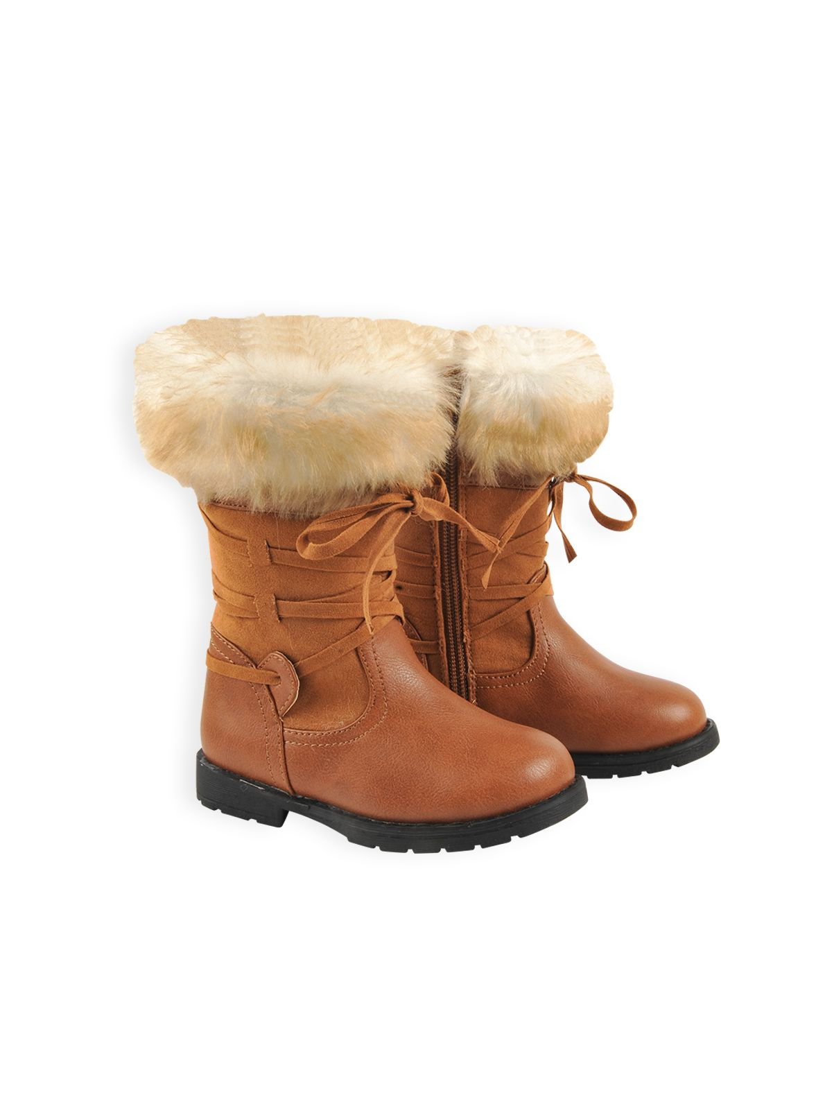 Girls tall fur top boot