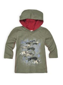Boys melange hooded long sleeve tee