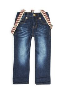 Boys arizona wash denim jean with braces