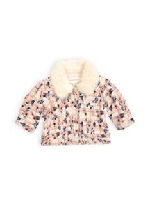 Girls fur collar cord jacket