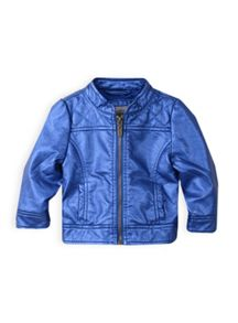 Girls quilted metallic pu jacket