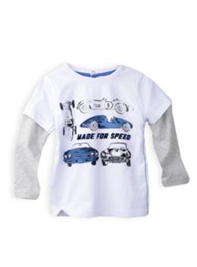 Boys print tee with double sleeves