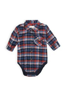 Boys check long sleeve bodysuit