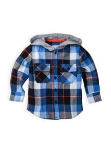 Boys check flannel ls shirt with hood