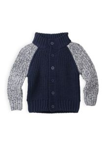 Boys contrast sleeve knit cardigan