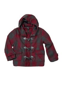 Boys w/s hooded check duffel coat