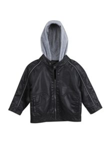 Boys mock leather hooded biker jacket