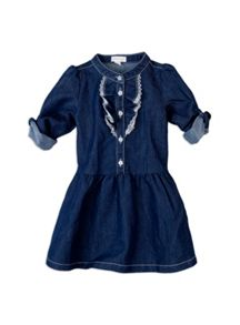 Girls w/s denim ruffle front dress