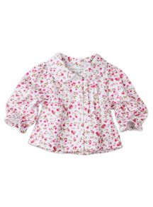 Girls w/s floral knit blouse