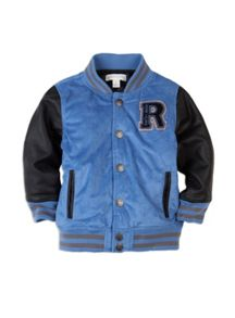Boys mock suede baseball jacket